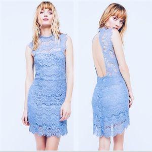 FREE PEOPLE Blue Lace Open Back Dress